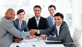A diverse business group closing a deal — Stock Photo