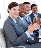International business team clapping a good presentation — Stock Photo