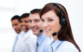 Business team with headset on working in a call center — Stock Photo