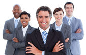 Portrait of competitive business team — Stock Photo