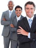 Portrait of enthusiastic business team — Stock Photo