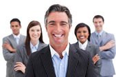 Smiling business team showing the diversity — Stock Photo