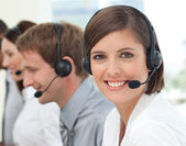 Female customer service agent in a call center — Stock Photo