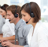 International business team with headset on — Stock Photo