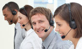 Business with headset on — Stock Photo