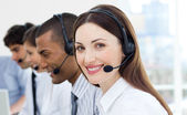 Customer service agents with headset on — Stock Photo