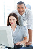 Two multi-ethnic colleagues working together — Stock Photo