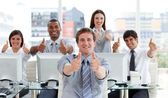 Lively business with thumbs up — Stock Photo