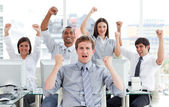 Enthusiastic business team celebrating success — Stock Photo