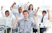 Ambitious business team celebrating success — Stock Photo