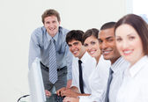 Charismatic manager and his team — Stock Photo
