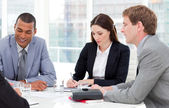 Concentrated business group having a meeting — Stock Photo