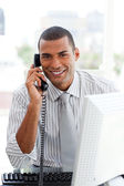 Afro-american businessman on phone — Stock Photo
