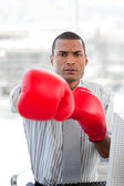 Super competitor businessman with boxing gloves — Stock fotografie