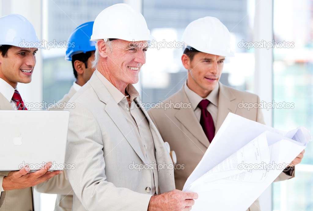 Architect team working on a building project in a company — Stock Photo #10281507