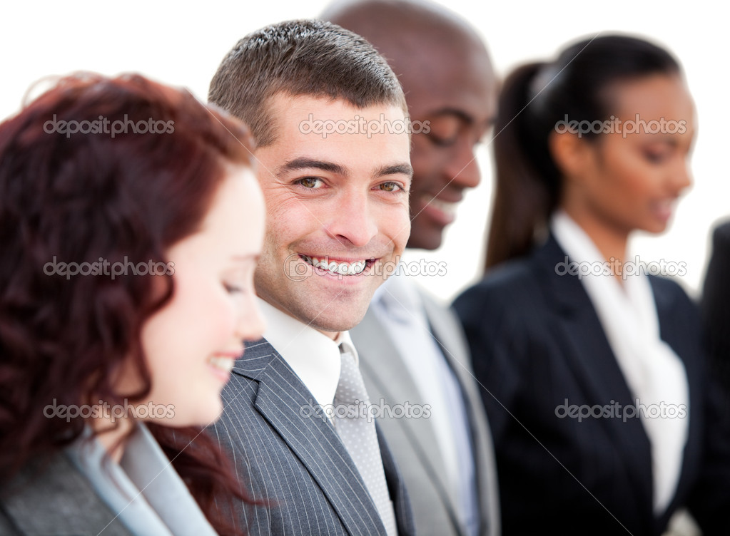 Positive multi-ethnic business in a meeting against a white background — Stock Photo #10282009