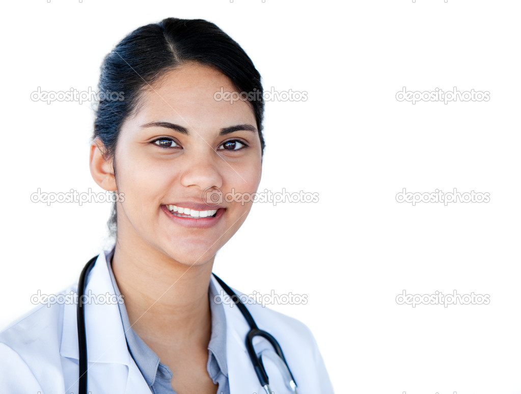 Portrait of a charismatic female doctor against a white background  Foto de Stock   #10282113