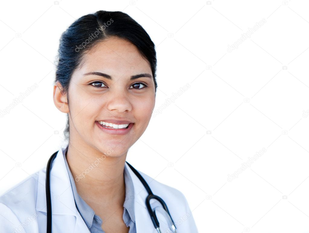 Portrait of a charismatic female doctor against a white background   #10282113