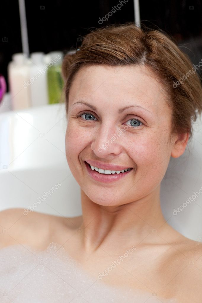 Cheerful woman having a bath — Stock Photo #10282472