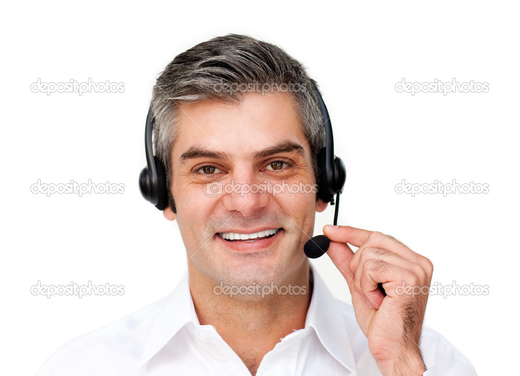 Mature businessman using headset isolated on a white background — Stock Photo #10284174