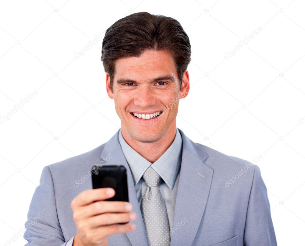 Joyful businessman sending a text against a white background — Stock Photo #10284281