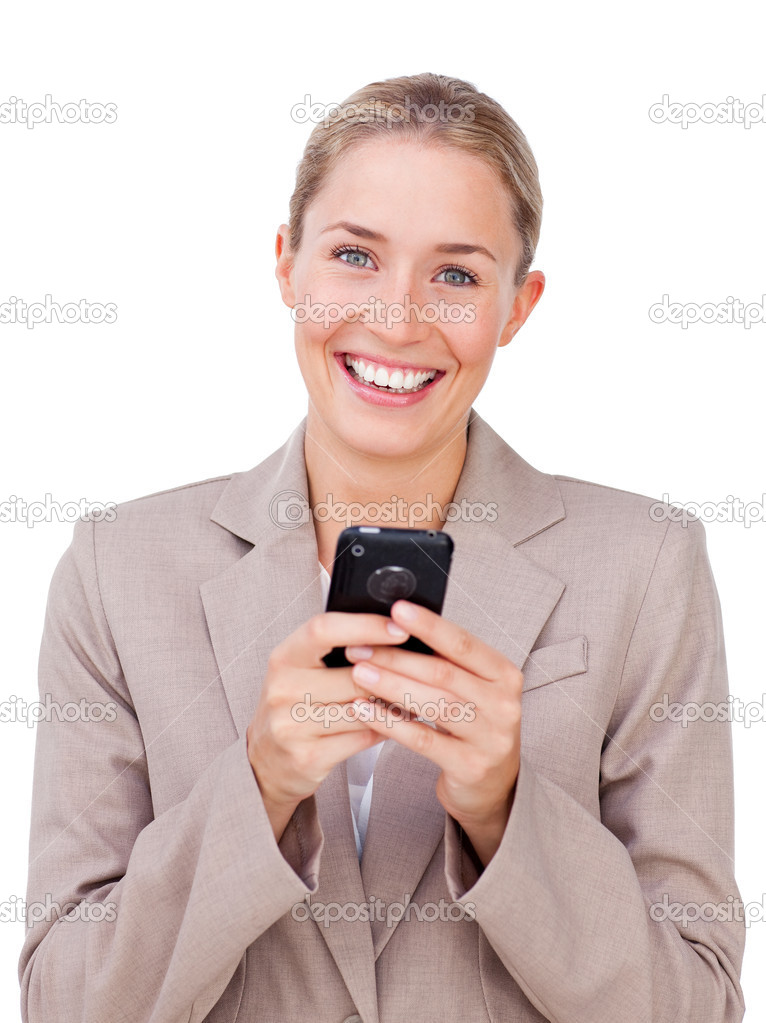 Bright businesswoman sending a text against a white background — Stock Photo #10285058