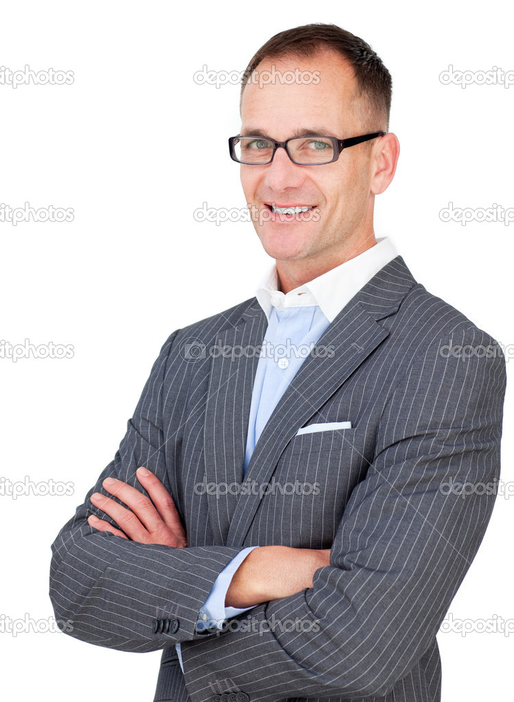 Middle aged businessman with folded arms wearing glasses — Stock Photo #10285715