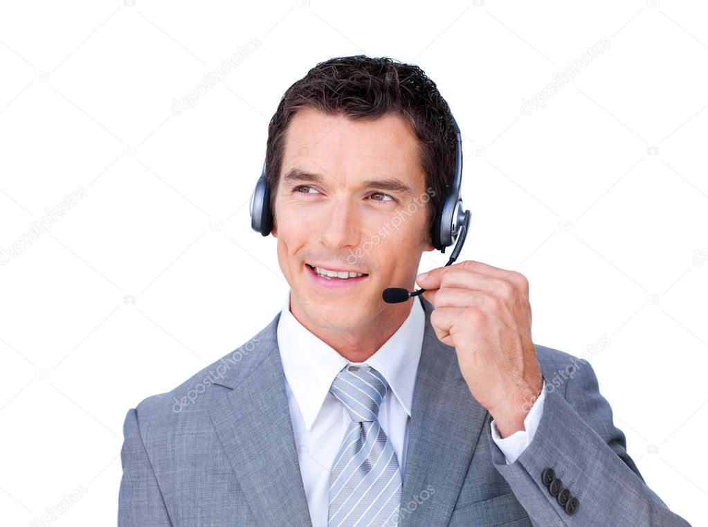 Charming caucasian businessman using headset against a white background — Stock Photo #10286256