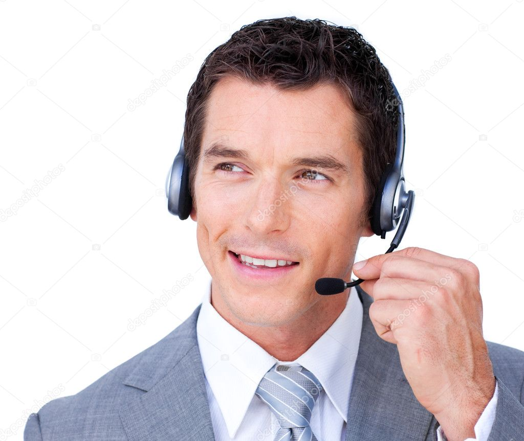 Confident young businessman using headset against a white background — Foto Stock #10286258