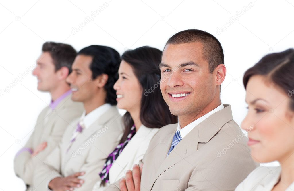 Charming businessman and his team lining up against a white background — Stock Photo #10288537