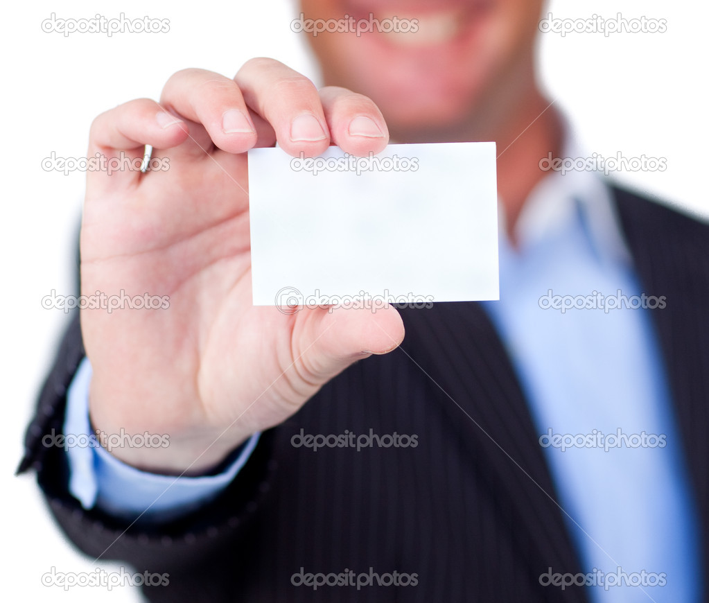 Close-up of a businessman holding a white card isolated on a white background — Stock Photo #10289028