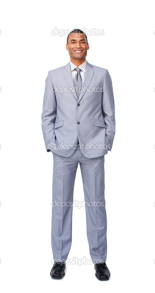 Attractive businessman with hands in pockets against a white background — Stock Photo #10289649