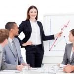 Confident businesswoman giving a presentation — Stock Photo