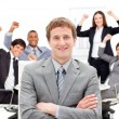 Stock Photo: Succesful business team punching air