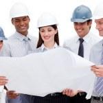 Multi-ethnic group of architects wearing hardhats — Stock Photo #10290054