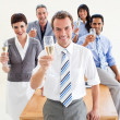 Stock Photo: International business toasting with Champagne