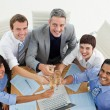 High angle of a successful business team toasting with Champagne — Stock Photo
