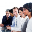 Diverse customer service representatives in a call center — Stock Photo