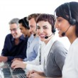 Positive business using headset — Stockfoto