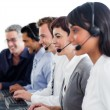 Portrait of business working in a call center — Stock Photo