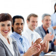 Multi-ethnic business clapping a good presentation — Stock Photo