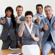 Stock Photo: Successful business with thumbs up