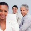 Portrait of a beautiful Afro-American businesswoman smiling in a — Stock Photo