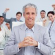 Happy manager and business team celebrating a sucess — Stock Photo