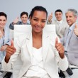 Afro-American businesswoman and her team with thumbs up — Stock Photo