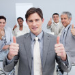 Attractive businessman celebrating a sucess with his team — Foto de Stock