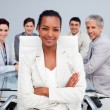 Happy Afro-American businesswoman in a meeting — Stock Photo