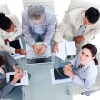 High angle of a multi-ethnic business in a meeting — Stock Photo #10290749
