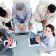 High angle of a multi-ethnic business in a meeting — Stock Photo