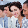 Smiling business showing ethnic diversity — Stock Photo